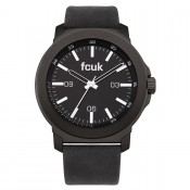 french connection men's black dial watch